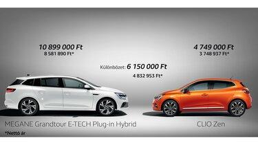 Renault Clio ZEN és Renault ZOE Zen elektromos autó ára TAO kedvezménnyel.