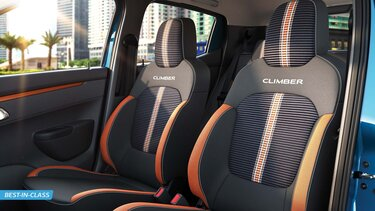 Sporty Orange & White Fabric Seat Upholstery with Striped Embossing