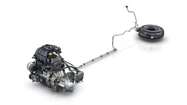 LPG-tank en motor van van Renault