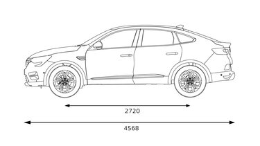 Renault Arkana - afmetingen zijkant