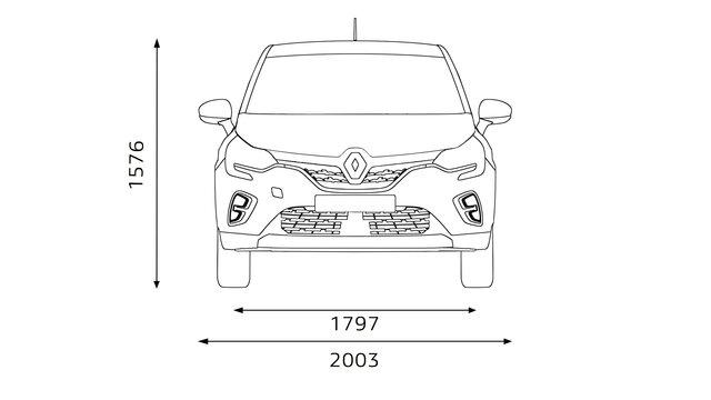 Wymiary z przodu Renault CAPTUR