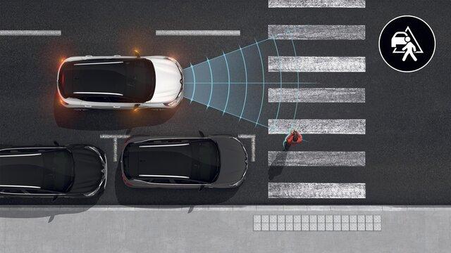 Grafik der innovativen Sicherheitssysteme im Renault Captur Business Edition