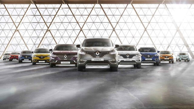A gama de veículos de passageiros Renault