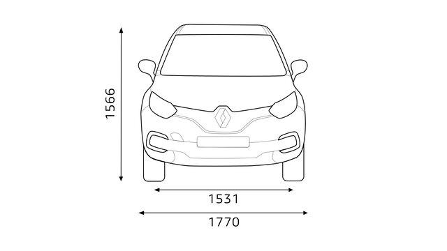 Přední rozměry vozu CAPTUR