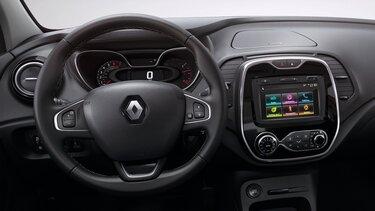 Renault CAPTUR - Close do volante e do sistema multimídia Media Nav Evolution