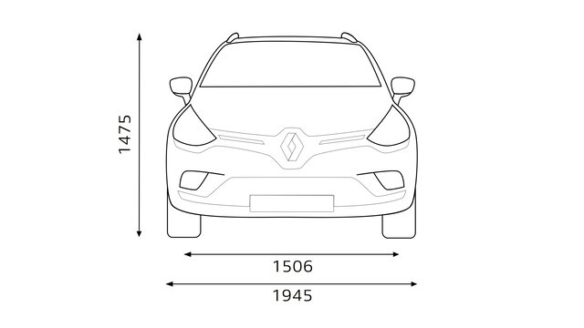 CLIO Estate dimensions face