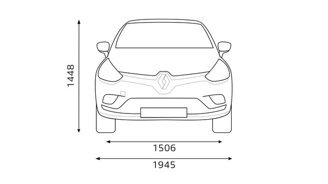Přední rozměry vozu CLIO