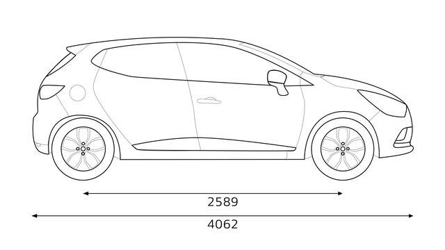Boční rozměry vozu CLIO
