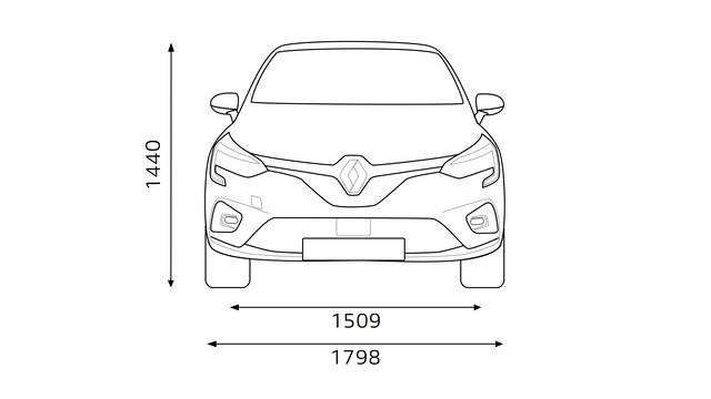 Renault CLIO dimensions front end