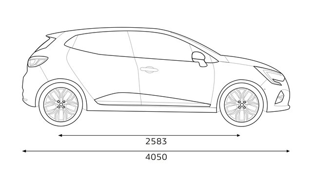 Renault CLIO side dimensions