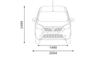 Renault DOKKER – габарити передньої частини