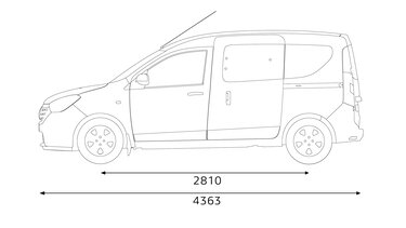 Renault DOKKER – габарити збоку