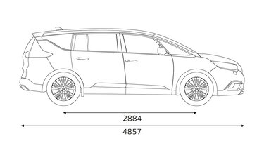 A Renault ESPACE oldalsó méretei