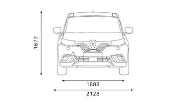 A Renault ESPACE méretei elöl