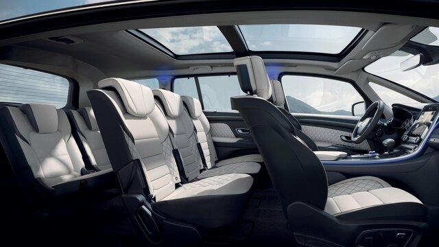 Renault ESPACE binnenkant, zitplaatsen voor- en achteraan
