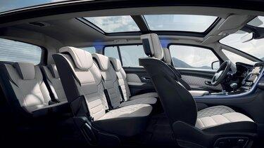 Renault ESPACE binnenkant, zitplaatsen voor- en achteraan, glazen dak