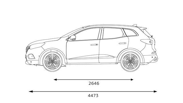Nowe Renault KADJAR wymiary z boku
