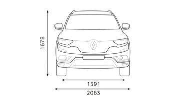 Renault KOLEOS – dimenzije sprijeda