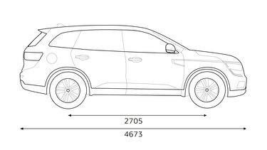 Renault KOLEOS – dimenzije bočno