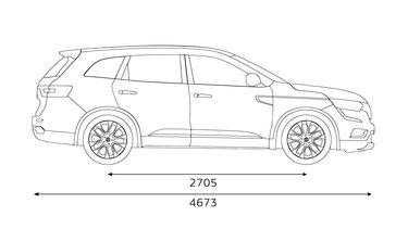 Renault KOLEOS dimensões laterais