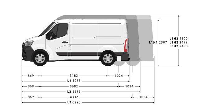 Boční rozměry vozu MASTER Z.E.
