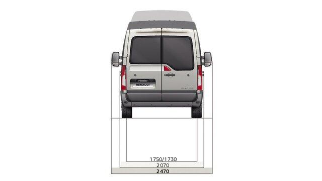 Dimensioni posteriori del furgone a trazione anteriore Renault MASTER