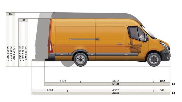 Dimensioni laterali del furgone a trazione posteriore Renault MASTER