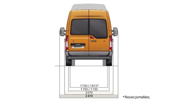 Dimensioni del furgone a trazione posteriore Renault MASTER