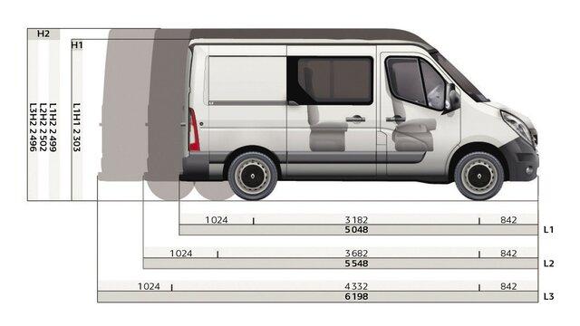 Dimensioni laterali del furgone a cabina doppia Renault MASTER