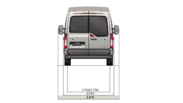 Dimensioni posteriori del furgone a cabina doppia Renault MASTER