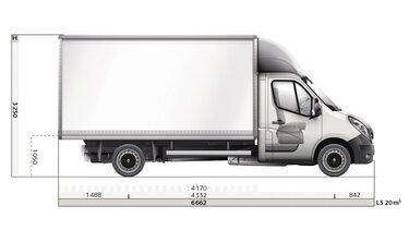 Renault MASTER groot volume afmetingen zijkant