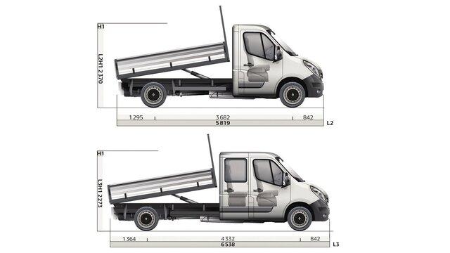 Dimensioni laterali del cassone ribaltabile Renault MASTER
