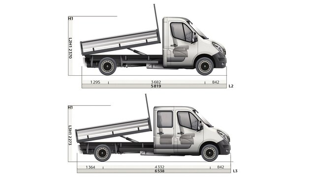 Renault MASTER Kipperaufbau Seitenabmessungen