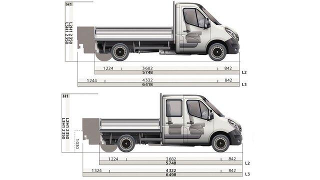 Renault MASTER pick-up afmetingen zijkant