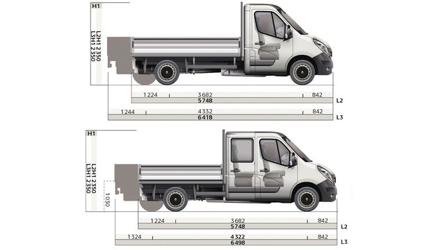 Renault MASTER pick-up afmetingen zijkant