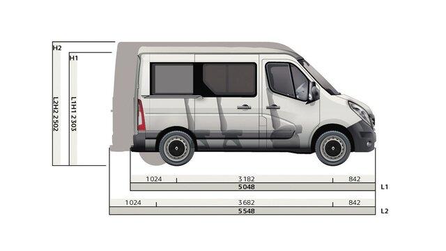 Renault MASTER Kombi Seitenabmessungen