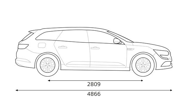 Boční rozměry vozu Renault TALISMAN Grandtour