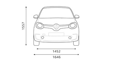 Dimensions avant de TWINGO Electric