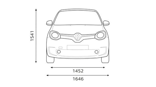 Renault TWINGO dimensões frontais