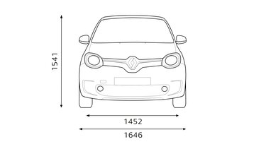 Renault TWINGO dimensions face
