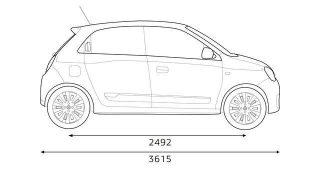 Renault TWINGO - Afmetingen zijkant