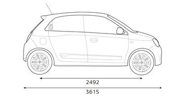 Renault TWINGO – mere bočnega dela