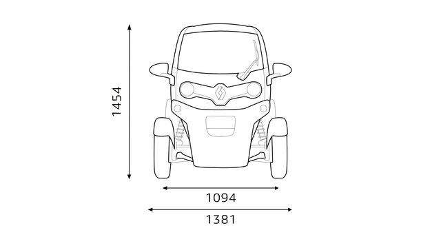 Renault TWIZY - Afmetingen voorkant