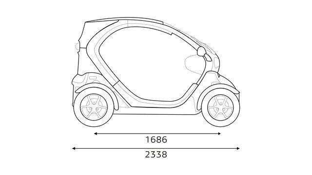 Renault TWIZY - Afmetingen zijkant