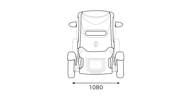 Renault TWIZY - Afmetingen achterkant