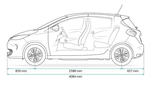 Renault ZOE - méretek elöl