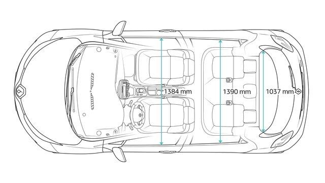 Renault ZOE - méretek hátul