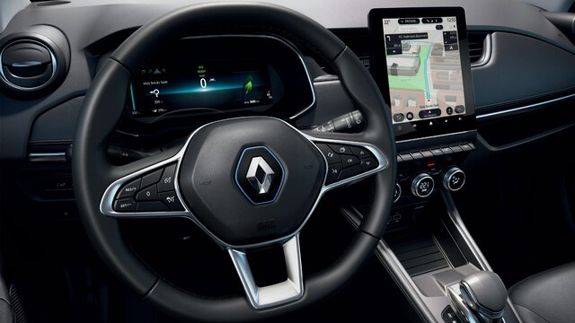 Het stuur en het scherm van de bestuurder in de Renault ZOE