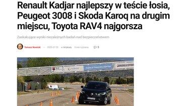 Renault Kadjar na drodze z przodu